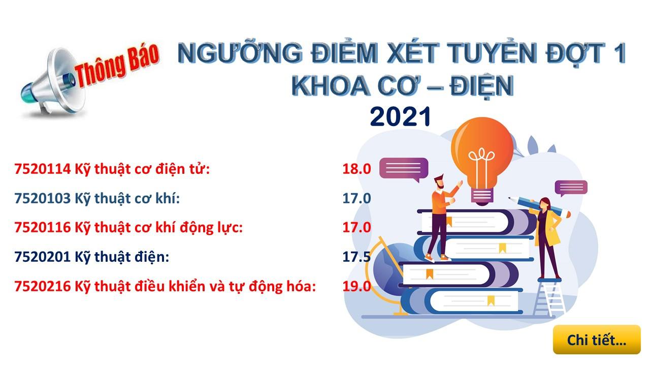 Ngưỡng điểm xét tuyển đợt 1 2021